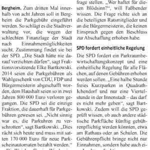 Kölner Stadtanzeiger Pressemitteilung zu Parkgebühren in Bergheim