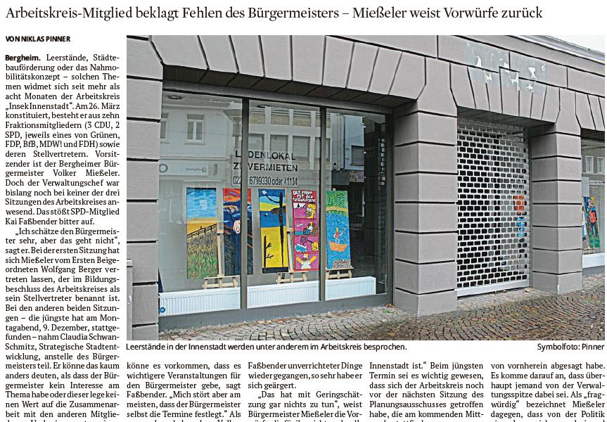 Artikel aus dem Kölner Stadtanzeiger vom 11.12.2019