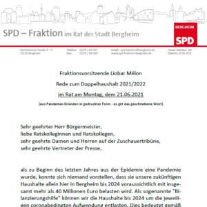 Haushaltsrede SPD